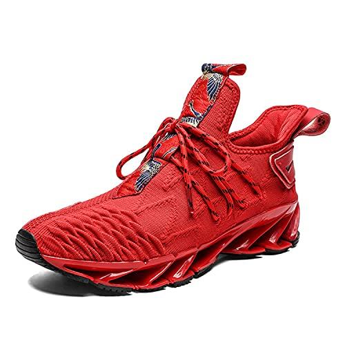 WJFGGXHK Zapatillas De Running para Hombre, Hi Top Trainers De Baloncesto Casual Moda para Caminar Zapatillas De Deporte Liviano,Rojo,42