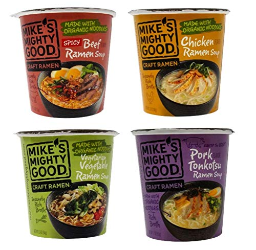 Mike's Mighty Good Craft Ramen Cups 4 Flavor Variety Sampler Bundle, 1 each: Spicy Beef, Chicken, Vegetarian Vegetable, Pork Tonkotsu (1.6-1.9 Ounces)