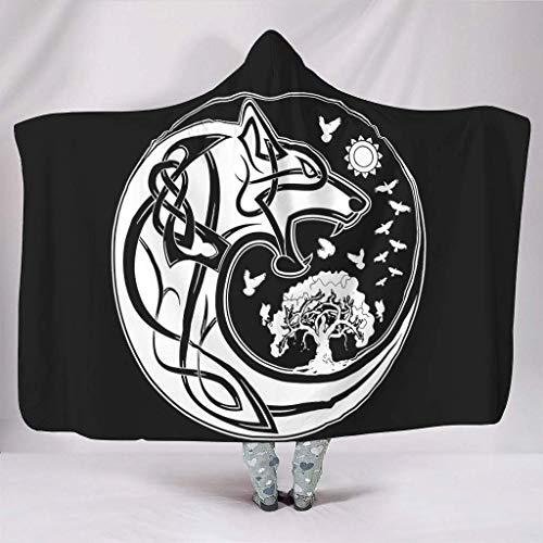 Leisure-Time Mantas con Capucha Negro nórdico Vikingo Fenrir Lobo árbol de la Vida Tatuaje Celta Yinyang Lobo Estampado cálido Invierno Manta mágica