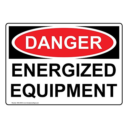 Danger Energized Equipment OSHA Safety Label Decal, 5x3.5 in. 4-Pack Vinyl for Electrical Industrial Notices by ComplianceSigns