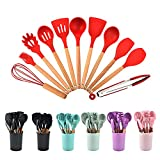 12PCS Silicone Cooking Kitchen Utensils Set with Holder, Wooden Handles Cooking Tool BPA Free Non Toxic Turner Tongs Spatula Spoon Kitchen Gadgets Set for Nonstick Cookware (red)