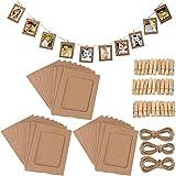 Fashion HW - Set di 30 cornici di Carta per Foto Fai da Te, 10 x 15 cm, con Clip in Legno e Filo da Appendere, in Cartone, per Decorare la casa Brown 30pcs