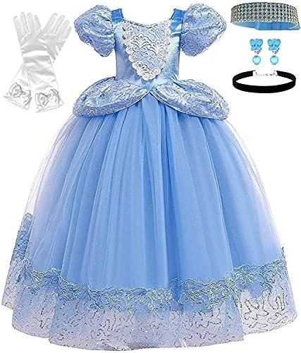 Romy's Collection Princess Cinderella Blue Toddler Girls Costume Dress Up (4-5, Blue 04)