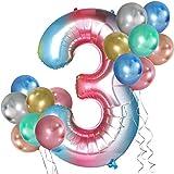 Simpeak Globo Número 3, Globo de Cumpleaños Niño 3 años + 24 Globos Multicolores + 1 Rollo de Cinta Láser Plateado + 1 Pajita, Set Globos Decoración para Fiesta Cumpleaños Party