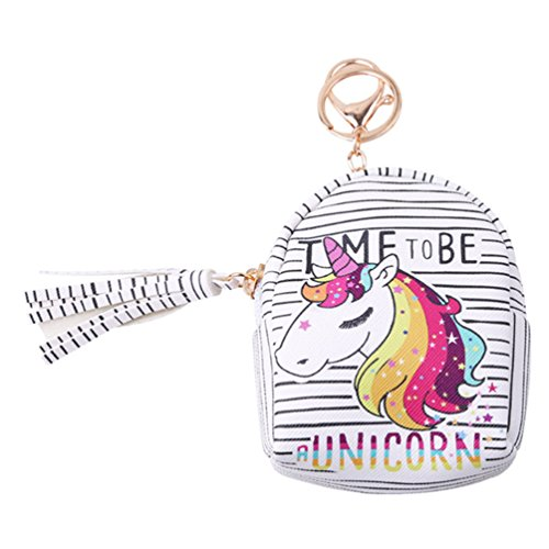 VWH Women PU Unicorn Mini Wallet Card Key Holder Zip Coin Purse Clutch Bags (rianbow with letter)