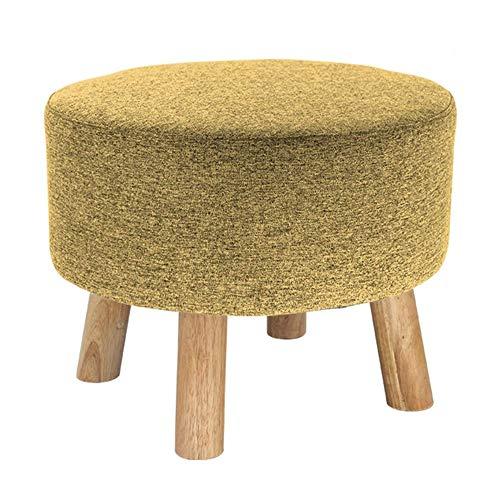 JXJ Taburete para pies Otomano tapizado Banco de Zapatos Taburete para sofá de Tela Taburete pequeño Redondo para el hogar Taburete para pies de Madera Maciza Cocina Sala de Estar, 8 Colores (Co