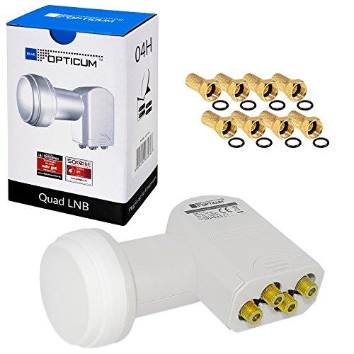 Opticum LQP-04H Quad LNB HB-DIGITAL White Premium Wieß Weiss NUR 0,1 dB UNIVERSAL ! SEHR RAUSCHARM + 8 vergoldete F-Stecker GRATIS DAZU