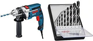 Bosch GSB 16 RE Professional - Taladro eléctrico (351W, 701W, Corriente alterna, 1.9 kg) + Bosch 2 607 010 533  - Set de 8 brocas helicoidales para madera Robust Line (pack de 8)