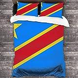 NA Steppdecken-Set Flagge der Demokratischen Republik Kongo 218,4 x 177,8 cm, leichte Decke für alle Jahreszeiten, 3-teiliges Bettwäsche-Set