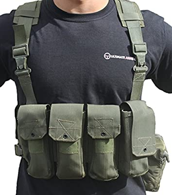 Ultimate Arms Gear Surplus Tzahal Zahal IDF Military OD Olive Drab Green Canvas Vest Harness Personal Load Carrying System PLCS + Water Bottle Insulation Hydration Canteen Cover