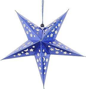 NANIH Home Estrella navideña Decoraciones Colgantes Estrella de Papel Linterna 3D Pentagrama Pantalla Artículos para el Favor de la Fiesta de Navidad 45 cm (Azul)