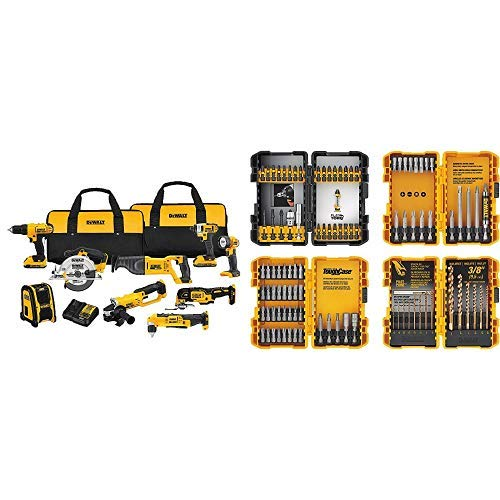 DEWALT DCK940D2 20V MAX Lithium Ion 9-Tool Combo Kit with DEWALT DWA2FTS100 Screwdriving and Drilling Set, 100 Piece