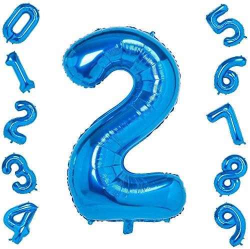 ZQBB Folienballon Zahlen Luftballons Helium Blau Ballons in 100cm für Geburtstag Party Dekoration Kinder(Zahl 2)