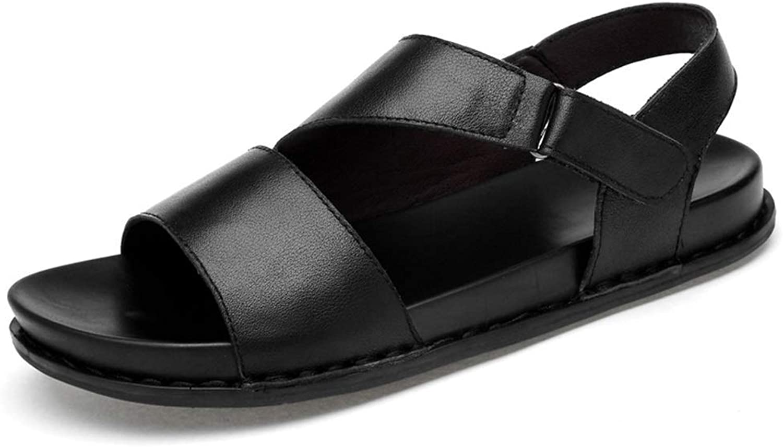 Sommer Strand Schuhe aus weichem OX Leder Sandale Hoop \u0026 Loop Schnalle Open Toe Schuhe (Farbe  Schwarz, Gre  8 UK)
