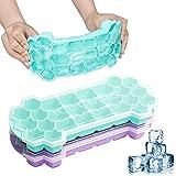 SUPCHON Eiswürfelform, Eiswürfelform Silikon mit Deckel BPA Frei 26-Fach 2erPack...