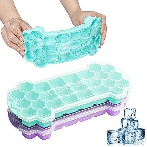 SUPCHON Eiswürfelform, Eiswürfelform Silikon mit Deckel BPA Frei 26-Fach 2erPack Eiswürfelbehälter mit deckel von Wasser, Lebensmitteln oder Babynahrung, Softdrinks und alkoholischen Getränken