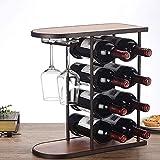 WCJ botellero de Madera Estante del Vino Copa, hogar, decoración del Restaurante, Perchero de pie Libre de exhibición de la joyería de Metal Base de Vino Moderno y Minimalista