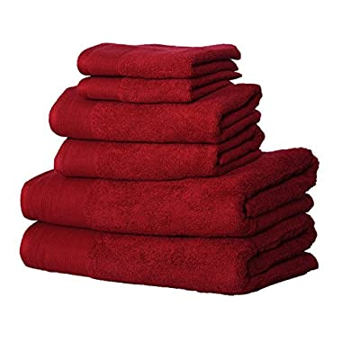 KT Towels New Premium Bath Towel Set- Bath Towels, Hand Towels and face towels - 100% terry Cotton - Machine washable, Hotel Quality, Super Soft and Highly Absorbent (red, 6 pc set)
