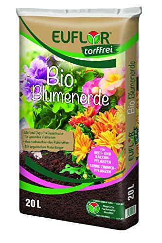 Euflor Bio Blumenerde torffrei 20 L Sack aus 100{9ac704dca1ac42cca47d8b2c1d427395c0b3f8fc3ed8226177e19eb65838f581} nachwachsenden Rohstoffen, für Beet- und Balkonpflanzen, Grunddüngung mit 12 Wochen Langzeitwirkung