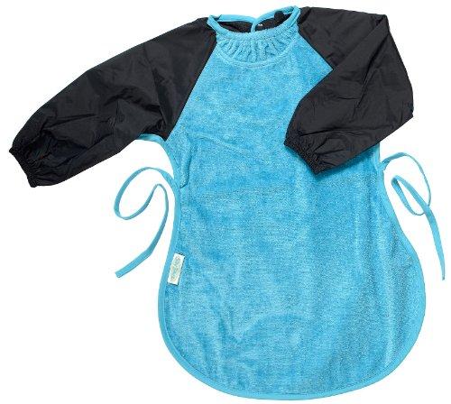 Silly billyz - 6261106 - Bavoir - Manches Longues Coton et Col-Anti Fuite - Messy Eater - Aqua et Bleu Marine - 12-36 mois