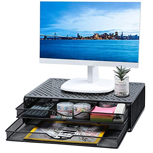 Outwolf Monitor Stand Riser with Drawer - Metal Desk Organizer PC, Laptop, Notebook, Printer Holder with Pull Out Storage Drawers