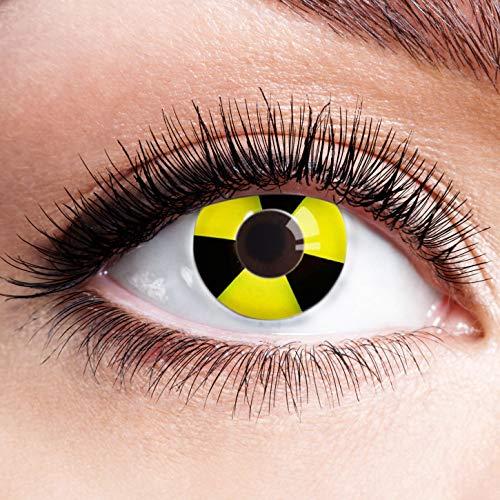 Farbige Kontaktlinsen Gelb Motivlinsen Ohne Stärke mit Motiv Gelbe Linsen Halloween Karneval Fasching Cosplay Kostüm Yellow Bicolor Black