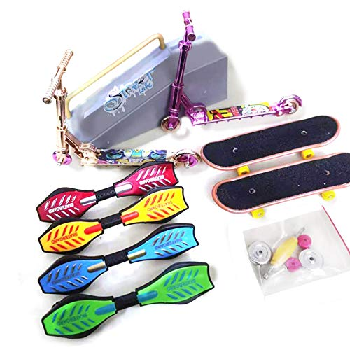 Mini Finger Toy Set – Monopatín de dedos, monopatín y patinete, set de regalo para niños, para jugar con o como decoración