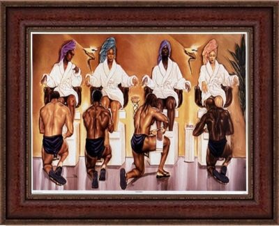 """Pamper Party by Kevin""""WAK"""" Williams (10x16 inches - Dark Brown Frame - Ships Framed and Ready to Hang)"""