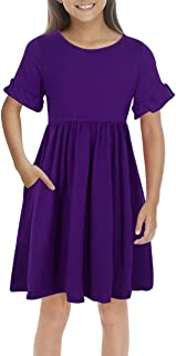 Girl's Simply Ruffle Sleeve Elegant Smock Style Casual Midi Dress with Pockets for Kids 4-12 Years