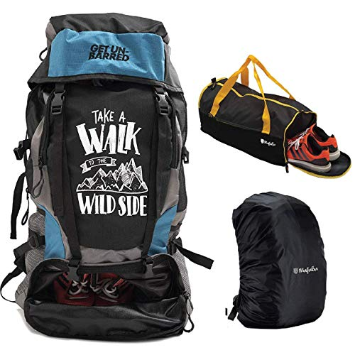 Mufubu Presents Get Unbarred 55 LTR Rucksack for Trekking, Hiking with Shoe Compartment and Duffel Gym Bag Combo (Blue & Black)