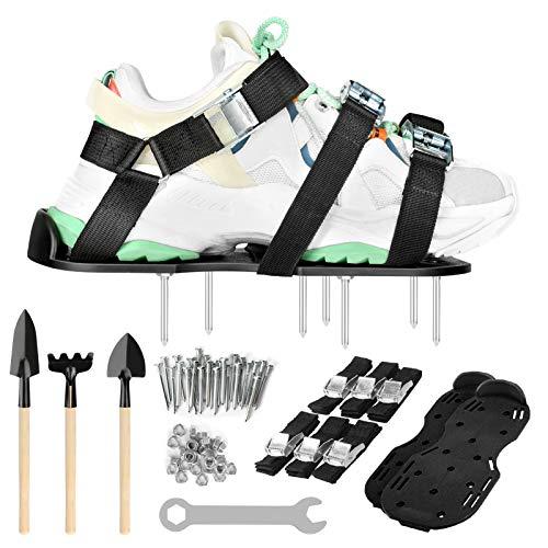 Zapatos Aerador de Cesped, Aireador de césped con 4 correas ajustables y 26 clavos en acero, aireador de césped suela para zapatos antideslizantes durable, se adapta a todos los zapatos o botas