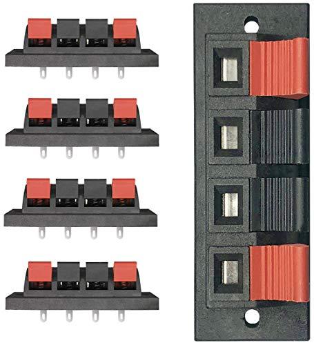 YUKIHALU Alta Corriente 8A Capacidad, 4 vías Conectores de terminalde Alta Voz estéreo Terminal Strip Block Spring Clips Conector de liberación Push (Paquete de 5)