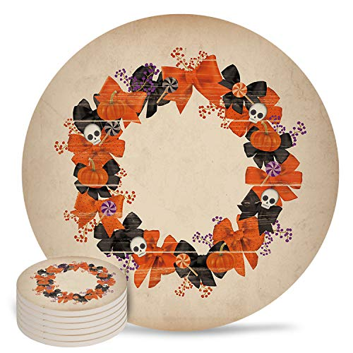 6 Pieces Halloween Garland Ceramic Coasters, Cork Base Drink Absorbent Coasters Hot Pads Mats for Drink Home Kitchen Office Bar Decor, Retro Skull Pumpkin Candy Bow Tie Garland