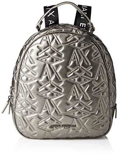 Armani Exchange - Logo Texture Backpack, Bolsos mochila Mujer, Gris (Gun Metal), 10x10x10 cm (W x H L)