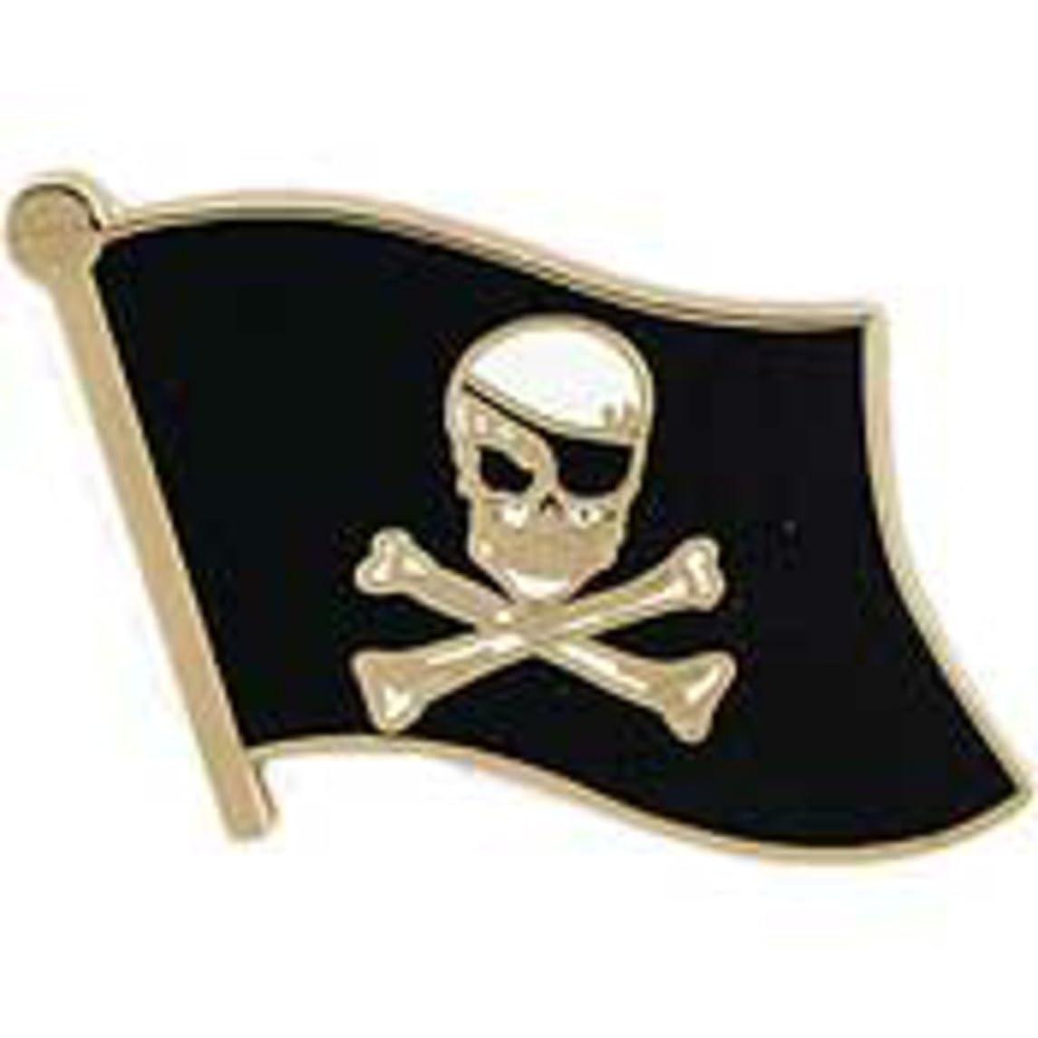 EagleEmblems P14274 Pin-Pirate,Skull and Bones-Flag (Sml) (.875'')