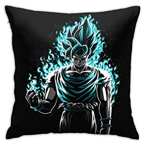 KRISMARIO Funda de Almohada Cojín Moda Impresa Felpa Tela Cuadrada sofá Cama 18 x 18 Pulgadas Dragon Ball Z Goku