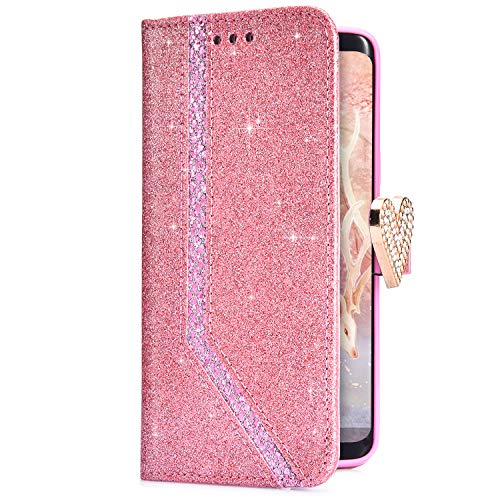 Uposao Coque iPhone 6,Coque iPhone 6S Housse Etui en Cuir PU Premium Housse à Rabat Portefeuille Pochette Coque Motif Coeur Briller Glitter Flip Case Housse Etui Coque pour iPhone 6 / 6S,Rose