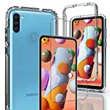 AMENQ Samsung A11 Case, Samsung A11 Case with Screen Protector Slim Fit Transparent Drop Proof and Scratch-Resist Hard Clear Protective with Soft TPU Bumper and PC Phone Cover for SM-A115U (Clear)