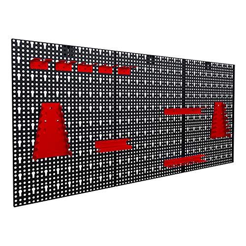 Werkzeuglochwand aus Metall mit 17tlg. Hakenset, ca. 120 x 60 x 1,5 cm, Werkzeug-wand Loch-wand für Werkstatt, Rot, Panorama24