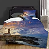 not Edredón- Ropa de Cama,Cap de Favaritx Sunset Lighthouse Cape in Mahon at Balearic Islands of Spain Coast,Microfibra,edredón 1 edredón 220×240CM y 2 Fundas de Almohada 50×80CM