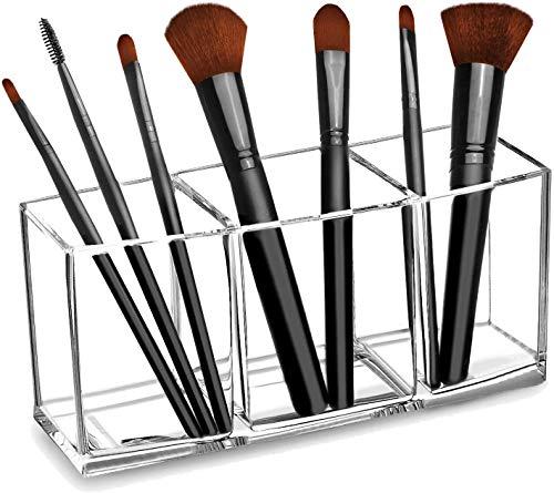 Klar Make-up Pinsel Veranstalter, Premium-Acryl Make-up Pinsel Halter Veranstalter 3 Fächer, Make-up Pinsel Display Halter kosmetische Lagerunmgm