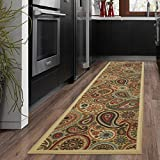 Ottomanson Ottohome Collection Beige Contemporary Paisley Design Modern Skid (Non-Slip) Rubber Backing (20'X59') Kitchen and Bathroom Runner Area Rug, 20' x 59'
