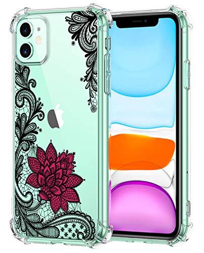 Oihxse - Carcasa transparente para iPhone 11 (poliuretano termoplástico) y silicona de protección de aire, antirayaduras, diseño de flores multicolor B6 iPhone 11 Pro Max