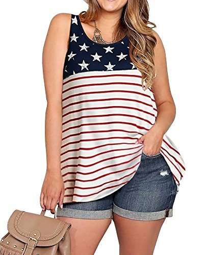 YONYWA 4th of July Women American Flag Plus Size Tank Top Summer Sleeveless Stars and Stripes Patriotic Tunic T-Shirt Red