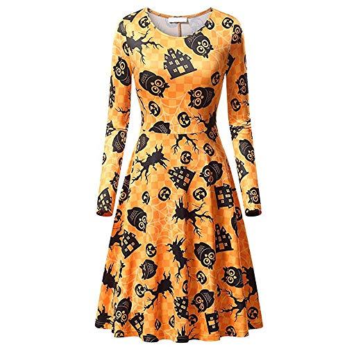 WUSIKY Halloween Abendkleider Partykleid Damen Brautkleider Halloween Kostüm Unterrock Kurz Langarm Cocktailkleid Plisseerock Petticoat Kleider Rockabilly (Mehrfarbig, S)