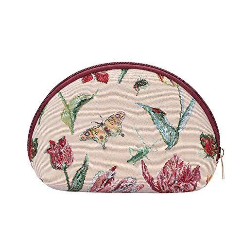 Signare Cosmetische make-up tas voor vrouwen en meisjes tapijt/Jacob Marrel - Tulp wit (COSM-JMTWT)