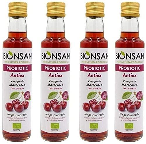 Bionsan Vinagre de Manzana con Cereza | 4 botellas de 250ml | Total: 1000ml