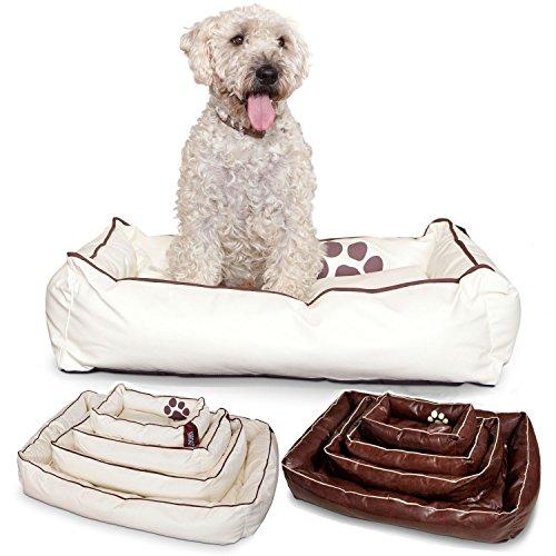Smoothy Hundekorb aus Leder; Hunde-Körbchen; Hundebett Vierbeiner; Beige-Weiß Größe M (83x57cm)