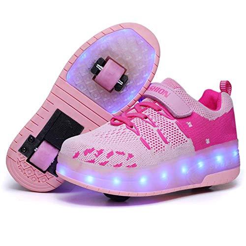 IDE Play Mädchen Fitness-Schuhe, Heelies LED-Licht-Turnschuhe mit Doppel zweirädrige Jungen-Mädchen-Rollen-Skate-Freizeitschuh-Jungen-Liebhaber Mädchen,Rosa,37