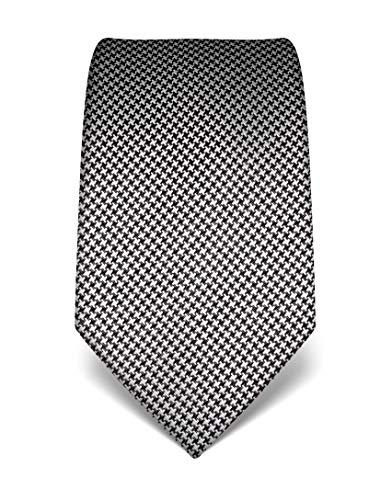 Vincenzo Boretti cravatta elegante classica da uomo, 8 cm x 15 cm, di pura seta di alta qualità, idrorepellente e antisporco, motivo pied-de-poule bianco/nero